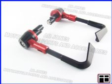 PAIR FRONT BRAKE AND CLUTCH LEVER PROTECTORS RED TRACK DAY, RACE, STREETBIKE